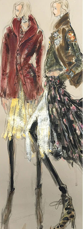 Sketches of looks from the 50th Anniversary Collection