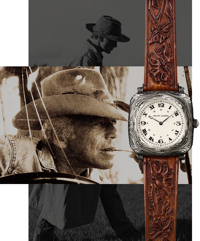 Watch with brown leather strap hand-tooled with floral Western motif