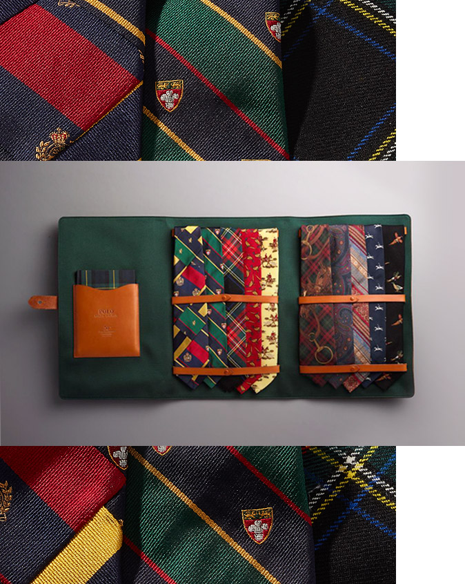 Ties of various patterns and hues in suede brown leather case