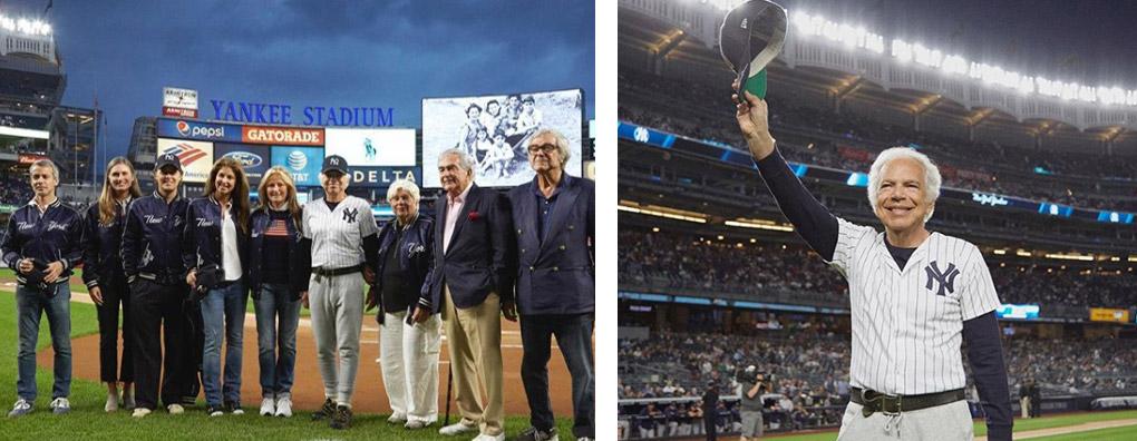 Ralph Lauren and family stand on field of Yankee Stadium; Mr. Lauren tips cap on field at Yankee Stadium.