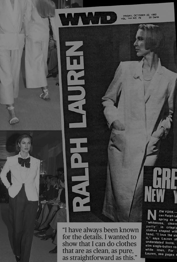 Book cover and inside pages of WWD: Fifty Years of Ralph Lauren