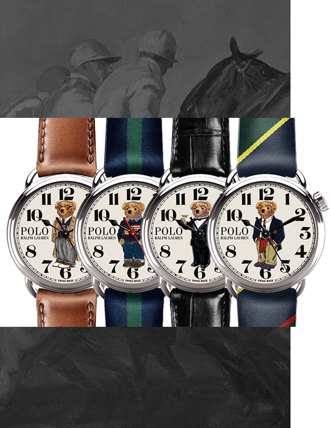 Watches with Polo Bear characters on face, with leather and silk straps