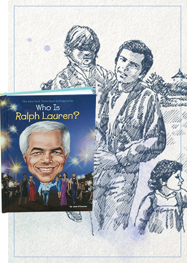 Book cover of and inside illustration from Who Is Ralph Lauren?